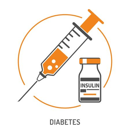Icon plastic medical syringe with needle and vial insulin in flat style, concept of vaccination, injection, diabetes. isolated vector illustration