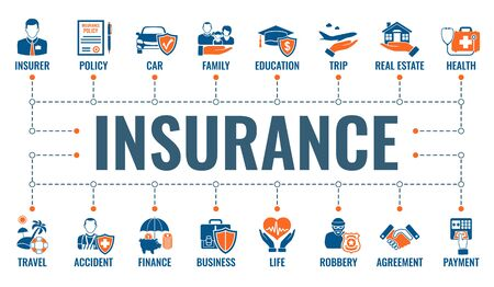 Insurance services horizontal banner with two color flat icons family, real estate, medical, travel and education insurance. typography concept. isolated vector illustration