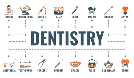 Dental services, dentistry and stomatology horizontal banner with two color flat icons dentist, dentist chair, braces, cartridge syringe and implant. typography concept. isolated vector illustration