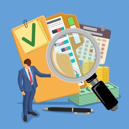 Auditing, Tax, Business Accounting Banner. Auditor, magnifying Glass and folder with checked up Financial Reports, calendar and money. Flat Style Icons. Isolated vector illustration Stock Illustratie