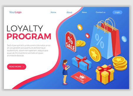 Landing page template with girl chooses gifts for bonuses from loyalty program. Customer loyalty programs as part of customer return marketing. gift box, returns, points, bonuses. isometric vector Ilustrace