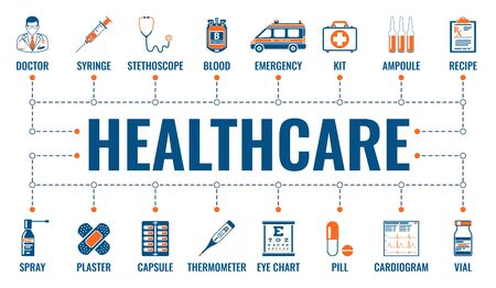 Medicine, healthcare and medical services horizontal banner with two color flat icons doctor, ambulance, prescription and syringe. typography concept. isolated vector illustration