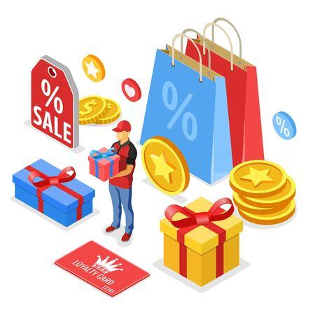 Programmes de fidélisation de la clientèle dans le cadre du marketing de retour client. coffret cadeau récompense, retours, intérêts, points, bonus. le support offre un cadeau selon le programme de fidélité. vecteur isométrique isolé