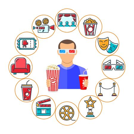 Cinema and Movie banner with flat and colored line icons Set like popcorn, award, clapperboard, tickets, 3D glasses and viewer. Isolated vector illustration Illusztráció