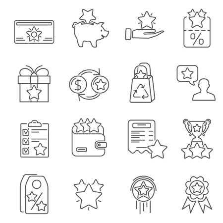 Loyalty Program Line Icons Set. Customer rewards with bonuses. Gift promotion, discount coupons, bonus growth, exchange for money and presents, loyalty card. isolated vector illustration  イラスト・ベクター素材