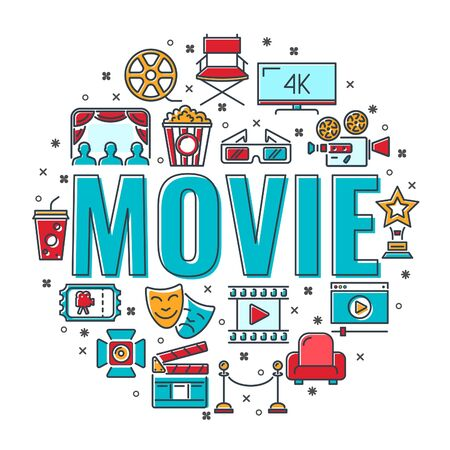 Cinema and Movie time banner with typography and colored line flat icons 3D glasses, clapperboard, popcorn, soda. isolated vector illustration Illusztráció