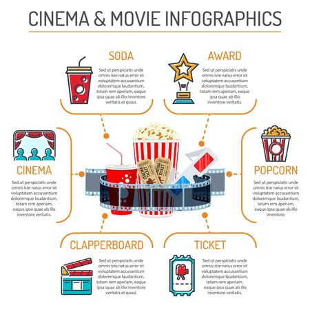 Cinema and Movie infographics with colored line and flat Icons popcorn, award, soda, clapperboard, tickets and 3D glasses. Isolated vector illustration Stock Illustratie