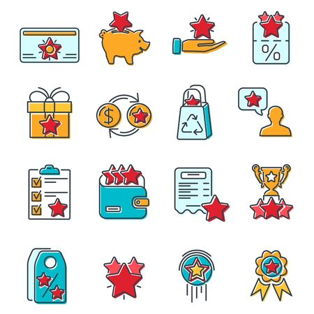 Loyalty Program colored line icons set. Customer rewards with bonuses. Gift promotion, discount coupons, bonus growth, exchange for money and presents, loyalty card. isolated vector illustration