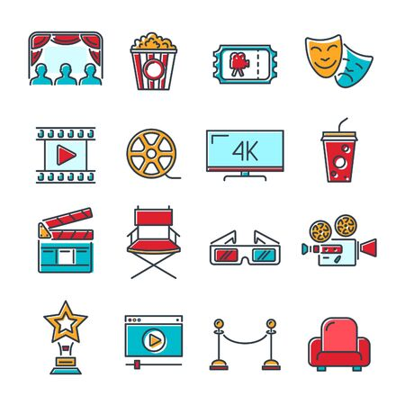 Cinema and Movie colored line Icons Set with popcorn, award, clapperboard, tickets and 3D glasses. Line style icons. Isolated vector illustration