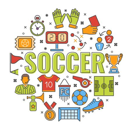 Soccer and Football banner with typography and colored line flat icons referee, ball, stadium, trophy. isolated vector illustration Ilustrace