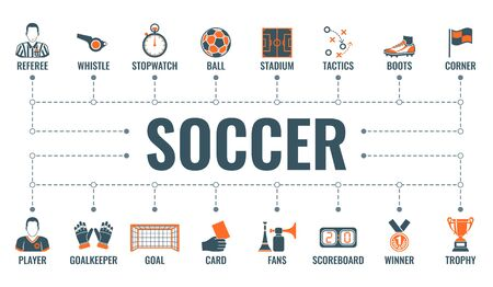 Soccer horizontal banner with two color flat icons football player, ball, goal, trophy and referee. typography infographics concept. isolated vector illustration
