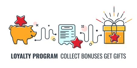 Loyalty Program banner with colored line flat icons. collect bonuses get gifts. Customer rewards with bonuses. Gift, exchange points, loyalty card. isolated vector illustration