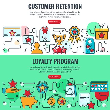 Loyalty Program and Customer Retention banners with colored line icons. Customer rewards with bonuses. Gift, discount coupons, bonus growth, exchange points, loyalty card. isolated vector illustration