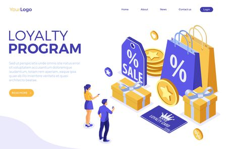 Landing page template with girl and man chooses gifts for bonuses from loyalty program. Customer loyalty programs as part of customer return marketing. gift box, points, bonuses. isometric vector