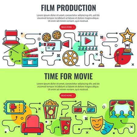 Cinema, film production and movie industry horizontal banners with colored line icons viewer, ticket, popcorn, clapperboard. process infographics. isolated vector illustration Illusztráció