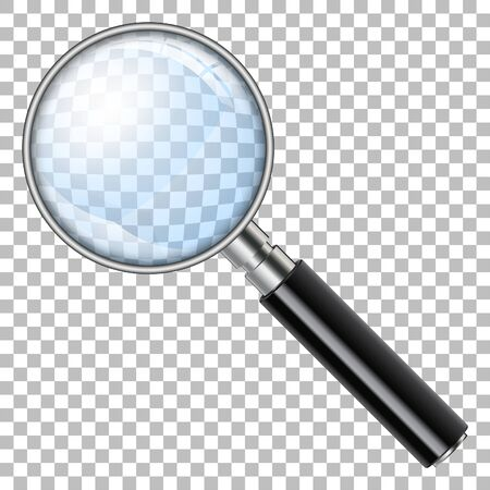 3D Realistic Magnifying Glass, Loupe, Magnify on transparent background. isolated vector illustration
