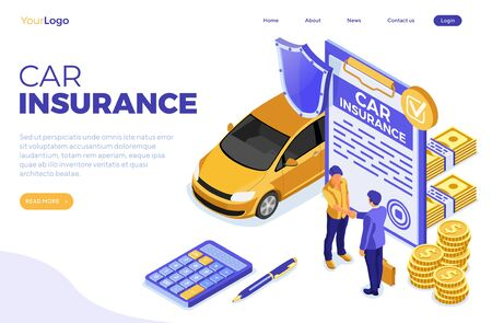 Landing page template car insurance isometric for Poster, Web Site, Advertising with Car Insurance Policy, calculator, people handshake, money and shield. isolated vector illustration