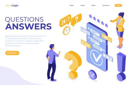 Online isometric customer support concept. Mobile call center with female consultant, headset, rating, chat icons. landing page template. FAQ. questions and answers. isolated vector illustration