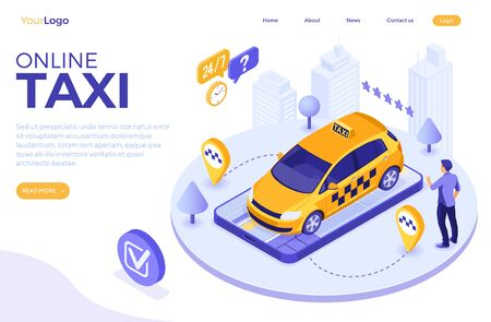 Man orders taxi from smartphone. Online taxi 24 hour service concept with people, car, map and route pin. isometric icons. landing page template. isolated vector illustration