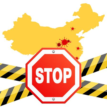 2019-nCoV virus strain with stop sign and guard tape. quarantine from novel coronavirus. pandemic coronavirus outbreak . map of outbreaks in china. isolated vector illustration 写真素材 - 142024108