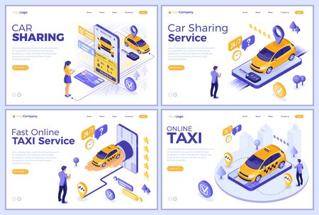 Car sharing and online taxi landing page templates. Man and girl online choose car for carsharing or taxi. Auto rental, carpool, shared through mobile application. Isometric vector illustration