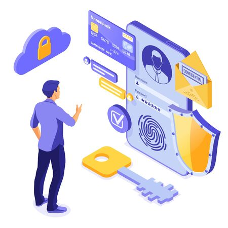 Personal data protection, internet security. phone with confidential data protection, shield, user login form. antivirus hacking isometric concept. isolated vector illustration