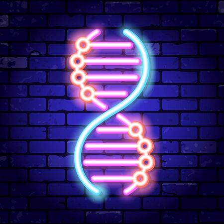 DNA neon signboard. Bright night signboard brick wall sign. Vector illustration with neon icon Vector Illustration