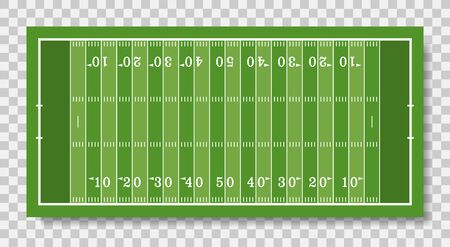 american football field with line, top view, vector illustration isolated on transparent background