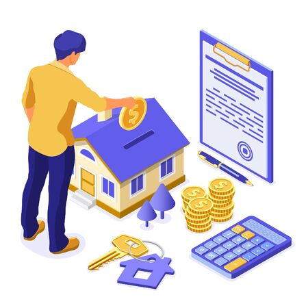 Sale, purchase, rent, mortgage house isometric concept for poster, landing, advertising with home, man invests money in real estate, key, agreement, pen, calculator. isolated vector illustration