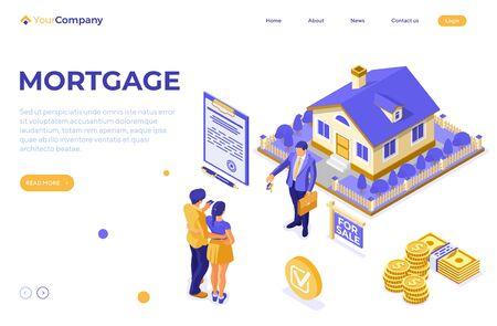 Sale, purchase, rent, mortgage house isometric concept for advertising with home, realtor, key, family invests money in real estate. landing page template. isolated vector illustration