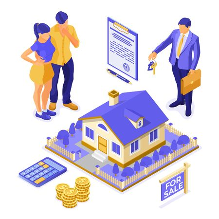 Sale, purchase, rent, mortgage house isometric concept for landing, advertising with home, realtor, key, family is thinking invests money in real estate. isolated vector illustration Illustration