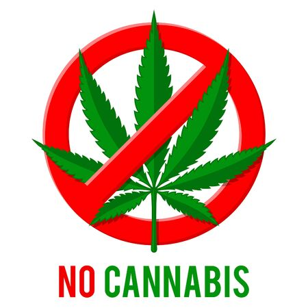 Prohibitory stop sign with hemp leaf. No drugs or prohibition of bad addictions. Cannabis ban, do not use marijuana in a crossed out red circle. isolated vector illustration icon