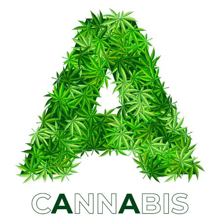 2 of 6. Letter A. Ð¡annabis or marijuana leaf logo design template. hemp for emblem, logo, advertisement of medical services or packaging. flat style icon. isolated vector illustration