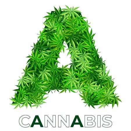 2 of 6. Letter A. Ð¡annabis or marijuana leaf logo design template. hemp for emblem, logo, advertisement of medical services or packaging. flat style icon. isolated vector illustration Reklamní fotografie - 140536426
