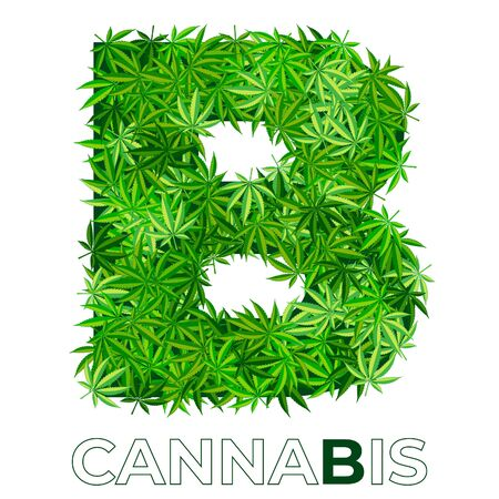 4 of 6. Letter B. Ð¡annabis or marijuana leaf logo design template. hemp for emblem, logo, advertisement of medical services or packaging. flat style icon. isolated vector illustration