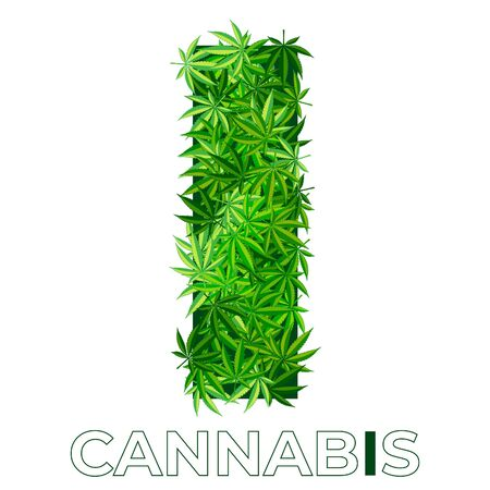 5 of 6. Letter I. Ð¡annabis or marijuana leaf logo design template. hemp for emblem, logo, advertisement of medical services or packaging. flat style icon. isolated vector illustration Reklamní fotografie - 140536429