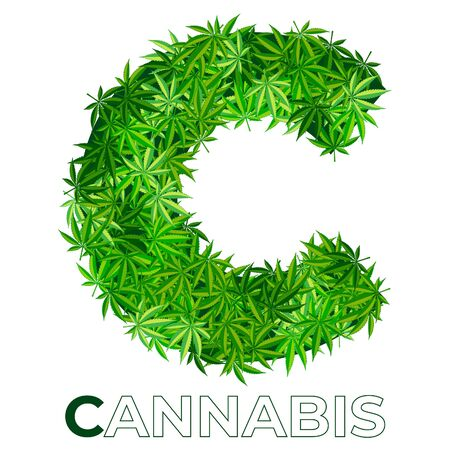 1 of 6. Letter C. Ð¡annabis or marijuana leaf logo design template. hemp for emblem, logo, advertisement of medical services or packaging. flat style icon. isolated vector illustration