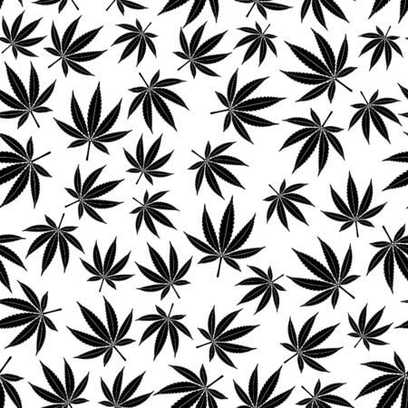Ð¡annabis or marijuana leaf seamless pattern. hemp for advertisement of medical services, packaging or printed materials. flat style icon. isolated vector illustration Reklamní fotografie - 140536442