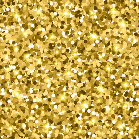 Gold glitter seamless pattern with confetti and sparkle. golden gloss texture. vector illustration background Foto de archivo - 140892423
