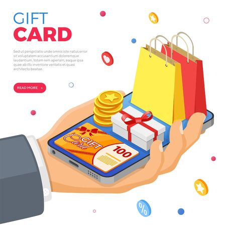 Gift Card and customer loyalty programs as part return marketing. gift box, returns, interest, points, bonuses. hand with smartphone gives gifts for bonuses from loyalty program. isometric vector