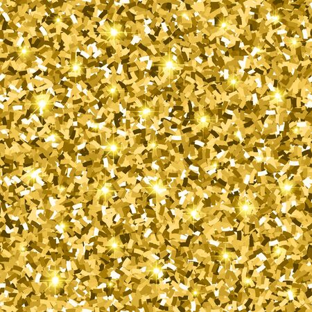 Gold glitter seamless pattern with confetti and sparkle. golden gloss texture. vector illustration background Foto de archivo - 140892425