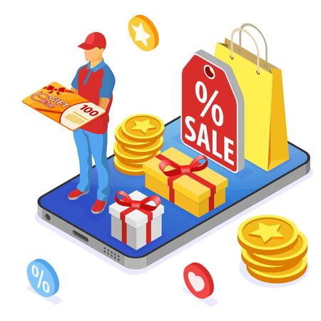 Gift Card and customer loyalty programs as part of return marketing. returns, interest, points, bonuses. online support on smartphone gives gift card from loyalty program. isometric vector