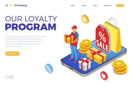 Customer loyalty programs as part of customer return marketing. gift box, returns, interest, points, bonuses. online support on smartphone gives gifts for bonuses from loyalty program isometric vector