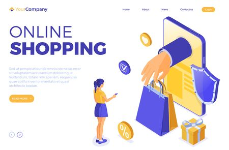 Isometric online shopping, delivery concept. smartphone with hand hold bag online delivery goods, girl gift credit card. internet shopping at home. landing page template. isolated vector illustration