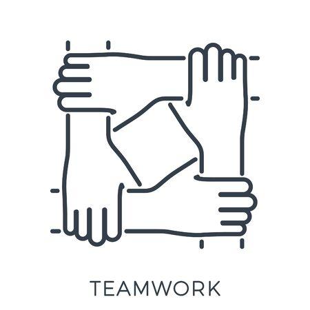 Des amis ou des partenaires commerciaux ont joint les mains. travail d'équipe, collaboration ou amitié. le modèle peut être utilisé pour la publicité, le logo, la page Web. icône de style de ligne. illustration vectorielle isolée