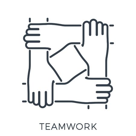 Friends or business partners joined hands together. teamwork, collaboration or friendship. template can be used for advertising, logo, web page. line style icon. isolated vector illustration
