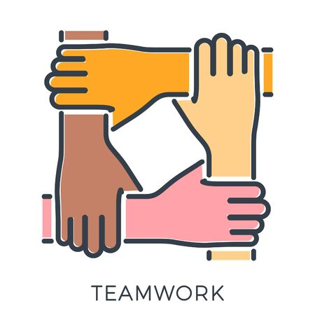 Friends or business partners joined hands together. teamwork, collaboration, diversity or friendship. template can be used for advertising, logo. colored linear icons. isolated vector illustration
