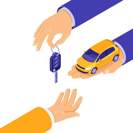 Sale, purchase, rent car isometric concept for landing, advertising with hands hold car and key. Auto rental, carpool, carsharing for city trips. isolated vector illustration