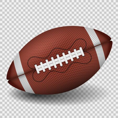 American football ball. realistic icon. front view american rugby ball. vector illustration isolated on transparent background Illustration