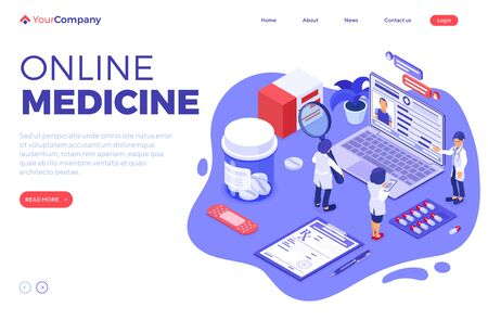 isometric online medical diagnostics and doctors workplace with icons laptop x-ray patient medical record prescriptions online internet chat landing page template isolated illustration Vektorové ilustrace